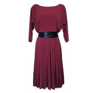 WHBM | Burgundy Black Belt Pleated Dress 4